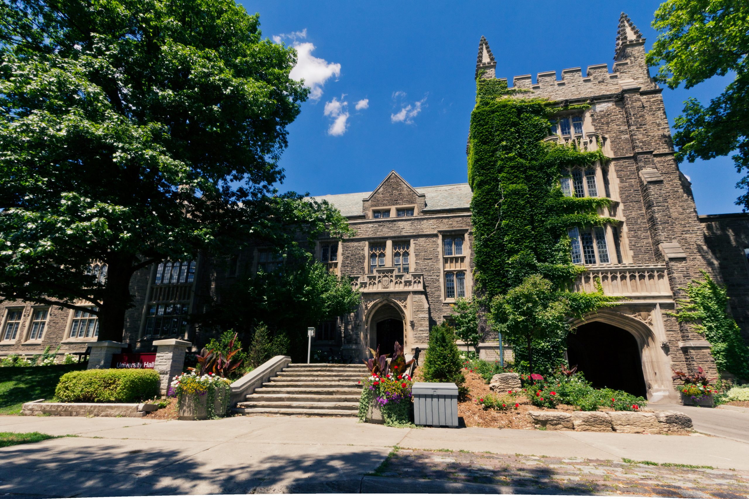 front of University Hall in summer