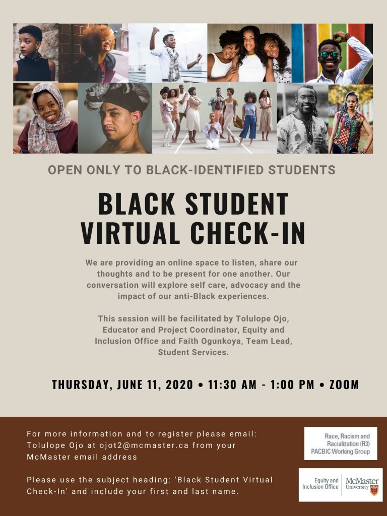 Black Student Virtual check in poster, picture people of colour