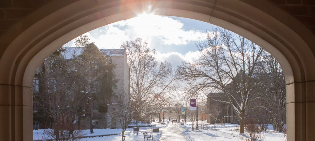 McMaster archway in winter